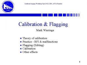 Synthesis Imaging Workshop Sept 24 28 2001 ATCA