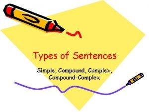 Types of Sentences Simple Compound Complex CompoundComplex Guess