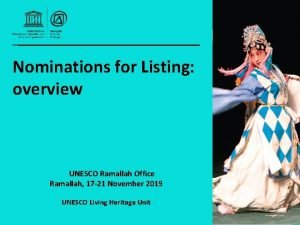 Nominations for Listing overview UNESCO Ramallah Office Ramallah