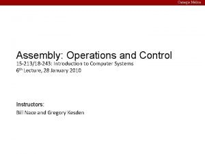 Carnegie Mellon Assembly Operations and Control 15 21318