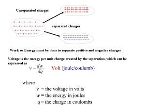 Unseparated charges Work or Energy must be done