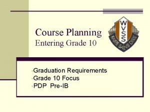 Course Planning Entering Grade 10 Graduation Requirements Grade