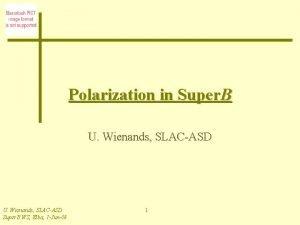 Polarization in Super B U Wienands SLACASD Super