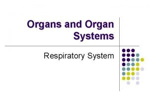 Organs and Organ Systems Respiratory System Respiratory System