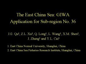 The East China Sea GIWA Application for Subregion