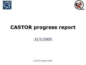 CASTOR progress report 3112005 CASTOR progress report Outline