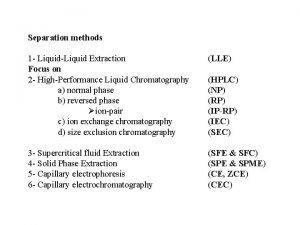 Separation methods 1 LiquidLiquid Extraction Focus on 2