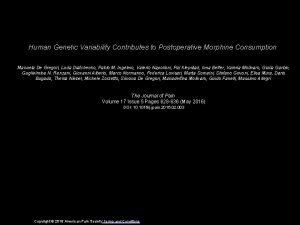 Human Genetic Variability Contributes to Postoperative Morphine Consumption