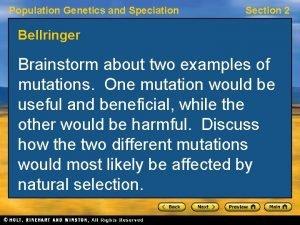 Population Genetics and Speciation Section 2 Bellringer Brainstorm