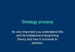 Strategy process Its very important you understand this