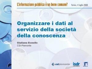 Organizzare i dati al servizio della societ della