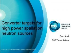 Converter targets for high power spallation neutron sources