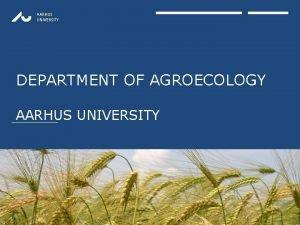 AARHUS UNIVERSITY DEPARTMENT OF AGROECOLOGY AARHUS UNIVERSITY AARHUS