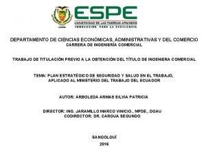 DEPARTAMENTO DE CIENCIAS ECONMICAS ADMINISTRATIVAS Y DEL COMERCIO