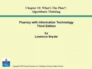 Chapter 10 Whats The Plan Algorithmic Thinking Fluency