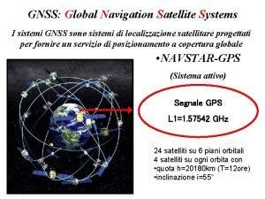 GNSS Global Navigation Satellite Systems I sistemi GNSS