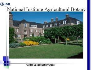 National Institute Agricultural Botany Better Seeds Better Crops