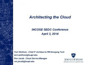 Architecting the Cloud INCOSE SEDC Conference April 3