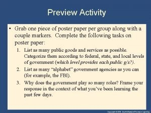 Preview Activity Grab one piece of poster paper
