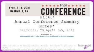 Fi 360 Annual Conference Summary Notes Nashville TN