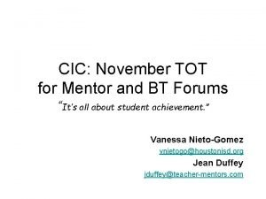 CIC November TOT for Mentor and BT Forums