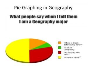 Pie Graphing in Geography Pie Graphs are used