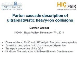 Parton cascade description of ultrarelativistic heavyion collisions Carsten