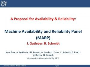 CERN A Proposal for Availability Reliability Machine Availability