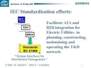Barcelona 12 15 May 2003 IEC Standardisation efforts