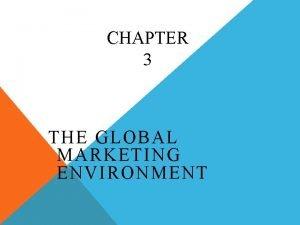 CHAPTER 3 THE GLOBAL MARKETING ENVIRONMENT MARKETING ENVIRONMENT