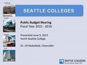 Central SEATTLE COLLEGES North Public Budget Hearing Fiscal