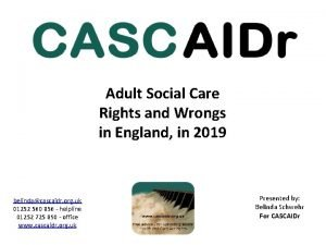 Adult Social Care Rights and Wrongs in England