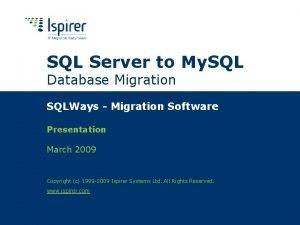 SQL Server to My SQL Database Migration SQLWays