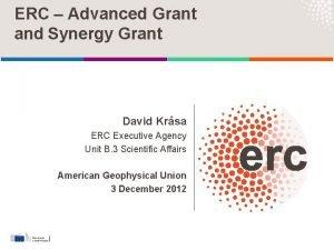 ERC Advanced Grant and Synergy Grant David Krsa