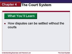 Chapter 4 The Court System What Youll Learn
