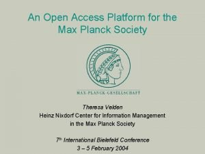 An Open Access Platform for the Max Planck