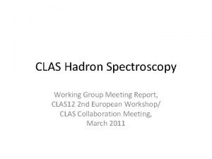 CLAS Hadron Spectroscopy Working Group Meeting Report CLAS