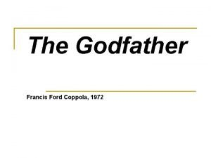 The Godfather Francis Ford Coppola 1972 Areas of