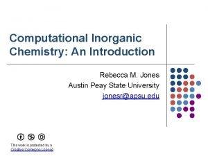 Computational Inorganic Chemistry An Introduction Rebecca M Jones