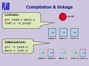 Compilation linkage Linkage prog 1 g read o