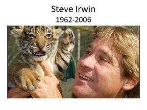 Steve Irwin 1962 2006 Steve Irwin was a