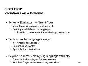6 001 SICP Variations on a Scheme Scheme