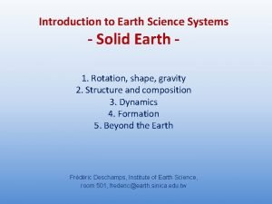 Introduction to Earth Science Systems Solid Earth 1