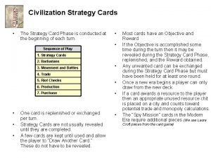 Civilization Strategy Cards The Strategy Card Phase is