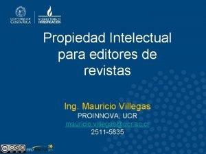 Propiedad Intelectual para editores de revistas Ing Mauricio