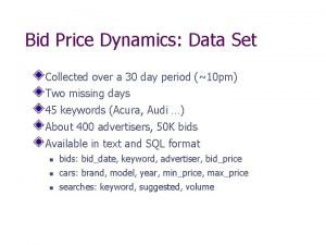 Bid Price Dynamics Data Set Collected over a