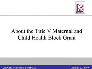 About the Title V Maternal and Child Health