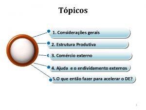 Tpicos 1 Consideraes gerais 2 Estrutura Produtiva 3