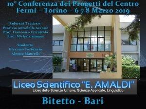 10 Conferenza dei Progetti del Centro Fermi Torino