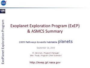 Exo Planet Exploration Program Exoplanet Exploration Program Ex